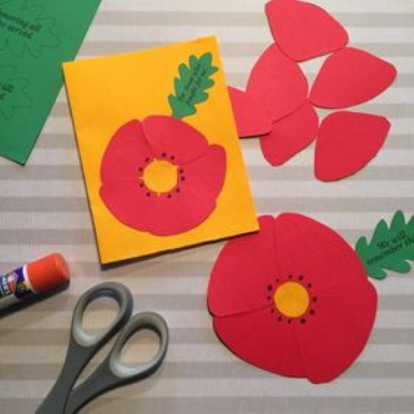 Cut and paste poppy for young children to make.
