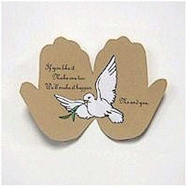 Handprint card featuring dove and Peace on earth poem