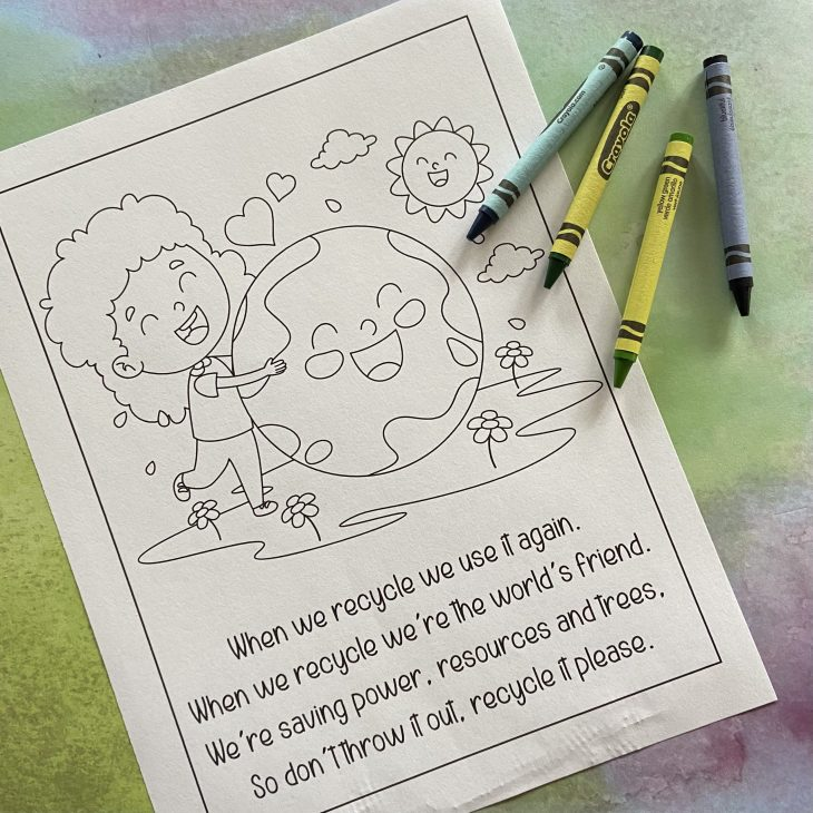 Earth Day Coloring Page and Poem