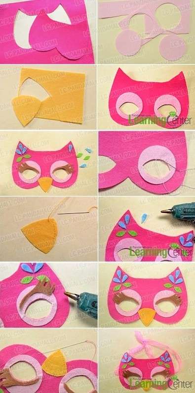 Image of Cute Felt Owl Mask for Young Children