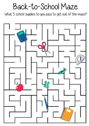 free printable back to school maze