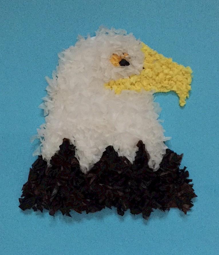 Image of Tissue Paper Bald Eagle Craft