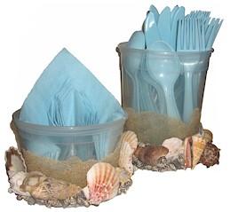 Image of Seashell Utensil and Napkin Holder