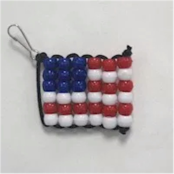 USA flag made with red, white and blue pony beads.