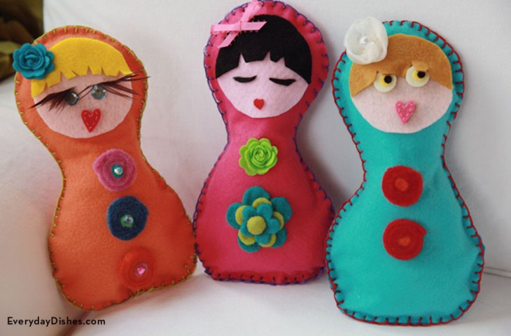 Colorful Blanket Stitched Dolls