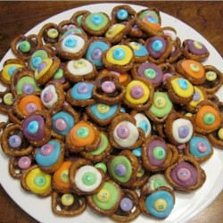 Image of Chocolate M and M Pretzel Buttons