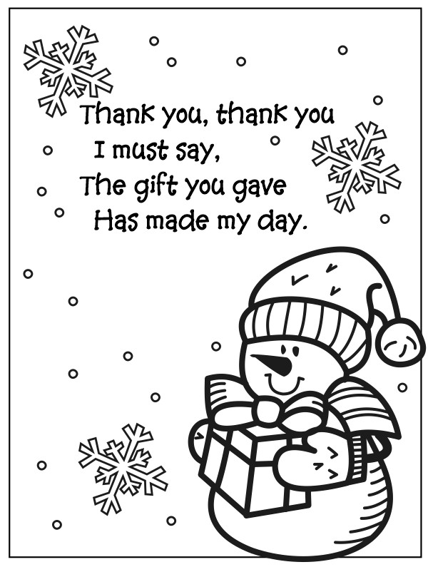 Printable Snowman Thank You Coloring Page Poem
