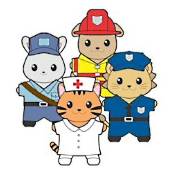 Easy community helpers paper dolls for young children