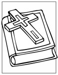 Printable Bible and Cross Coloring Page