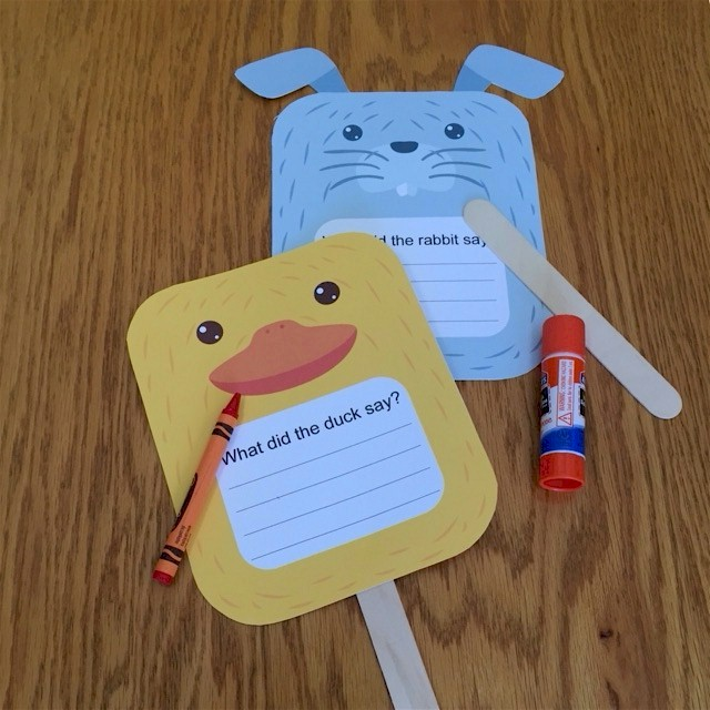 Image of Duck and Rabbit Puppets For Beginning Writers