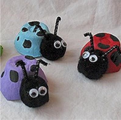 Image of Colorful Egg Carton Lady Bugs