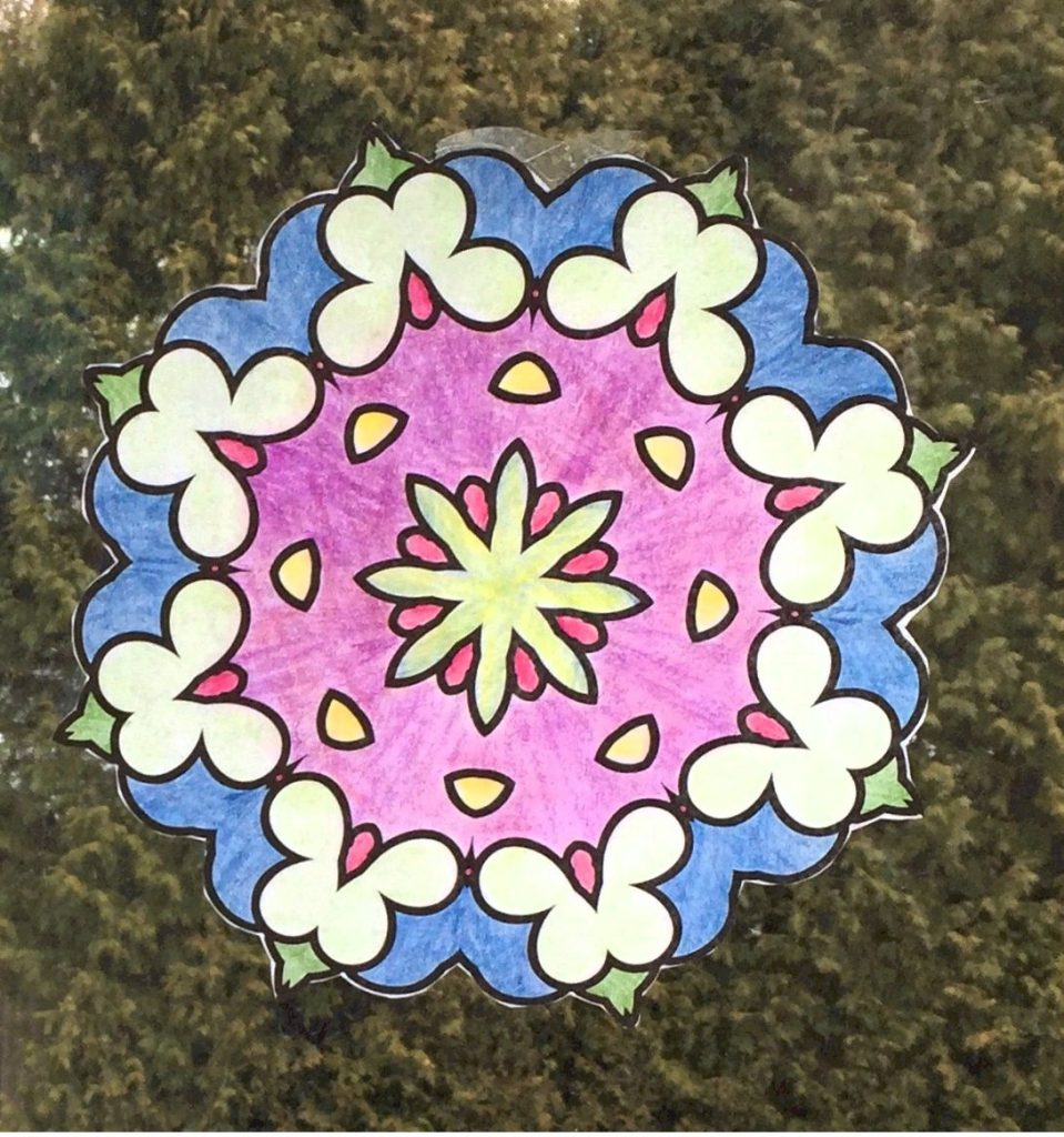 Faux Stained Glass Mandala Patterns made with Vegetable Oil.