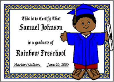 Playtime Graduation Certificate
