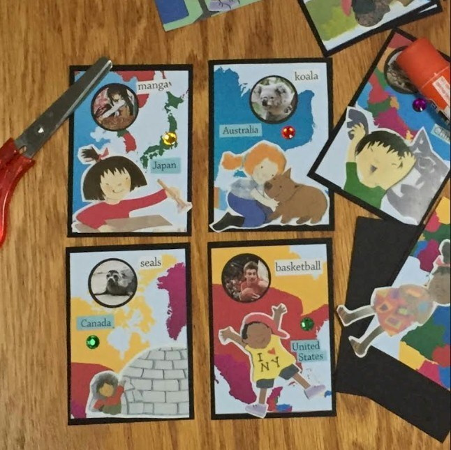 Cards with different parts of the world depicted.