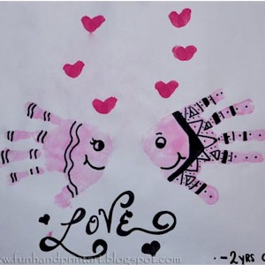 Image of Kissing Handprint Valentine Fish