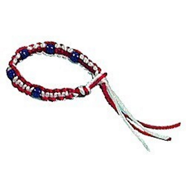 Red, white and blue bracelet made with macrame