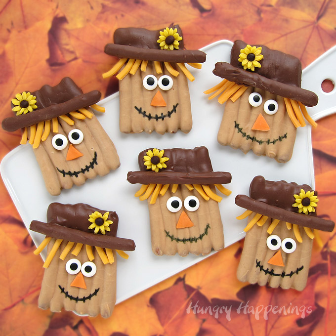 Make Chocolate Pretzel Scarecrows