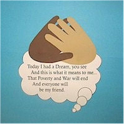 Easy MLK handprint poem craft to cut and paste.