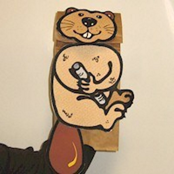 Beaver puppet made from a paper bag.