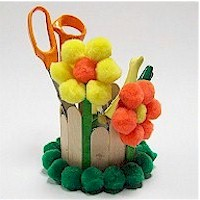 Pom Pom Flowered Desk Caddy