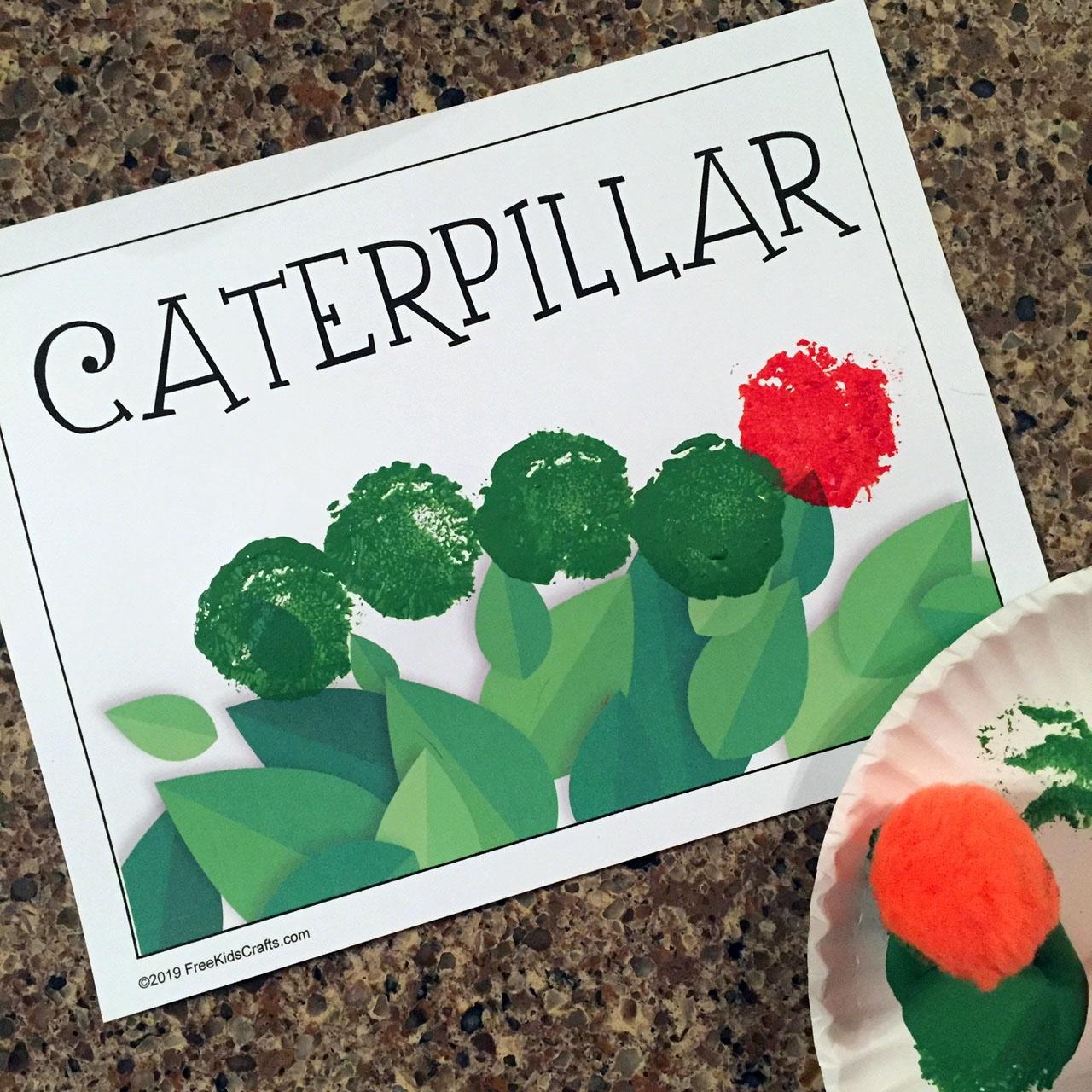 Image of Preschool Pom Pom Stamping  Caterpillar  Craft