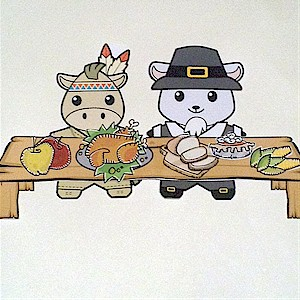 Image of Buddies Paper Doll Thanksgiving Table