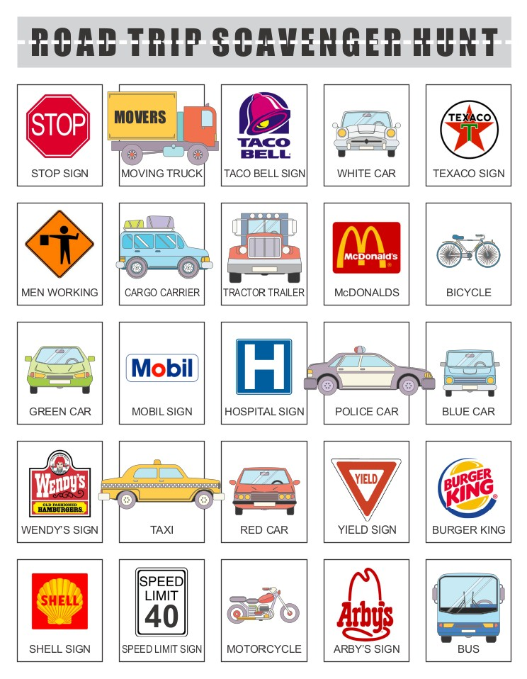 Printable Road Trip Scavenger Hunt for Children