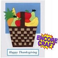 Thanksgiving Woven Paper Fruit Basket Card