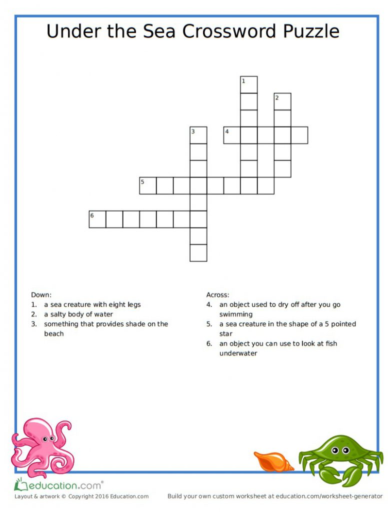 photo about Free Printable Crossword Puzzles for Kids identify Underneath The Sea Printable Crossword Puzzle