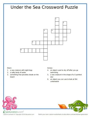 Printable Under The Sea Crossword Puzzle for Kids