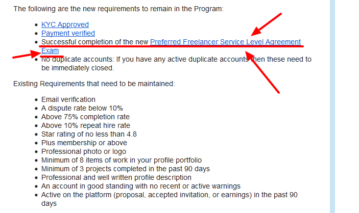 Important Changes to the Preferred Freelancer Program