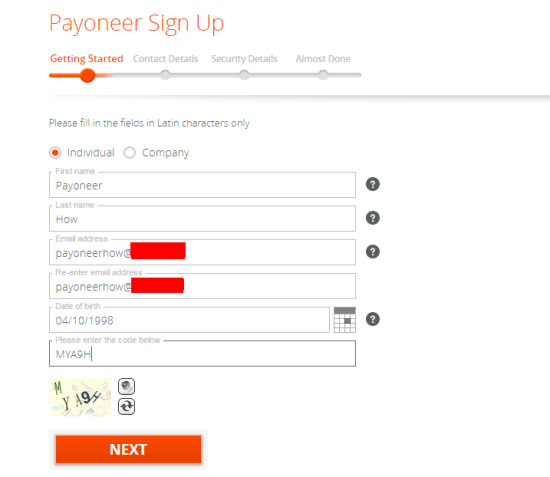Payoneer Sign UP First Step