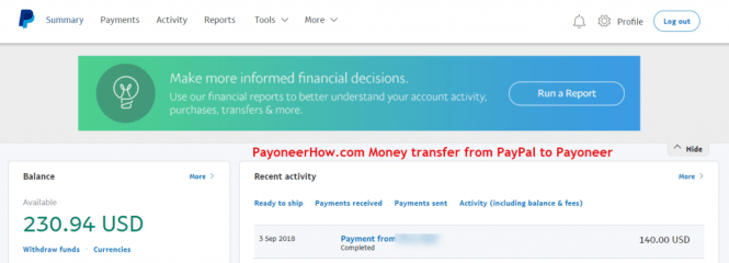 Log into your PayPal Account