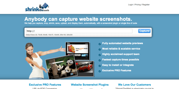 web page screenshots