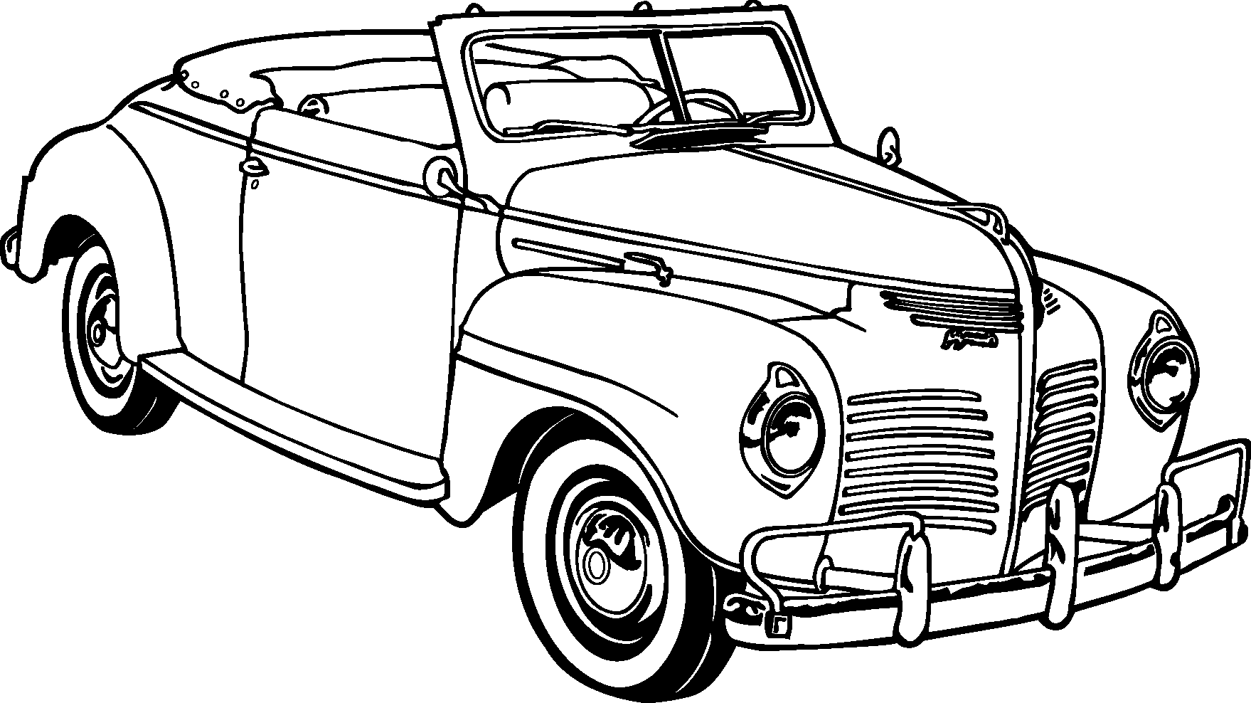 Transport Classic Cars Silhouettes Vector Icon Template