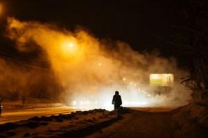 Mikhail Koninin_Woman waiting for taxi (On the street - Novosibirsk)