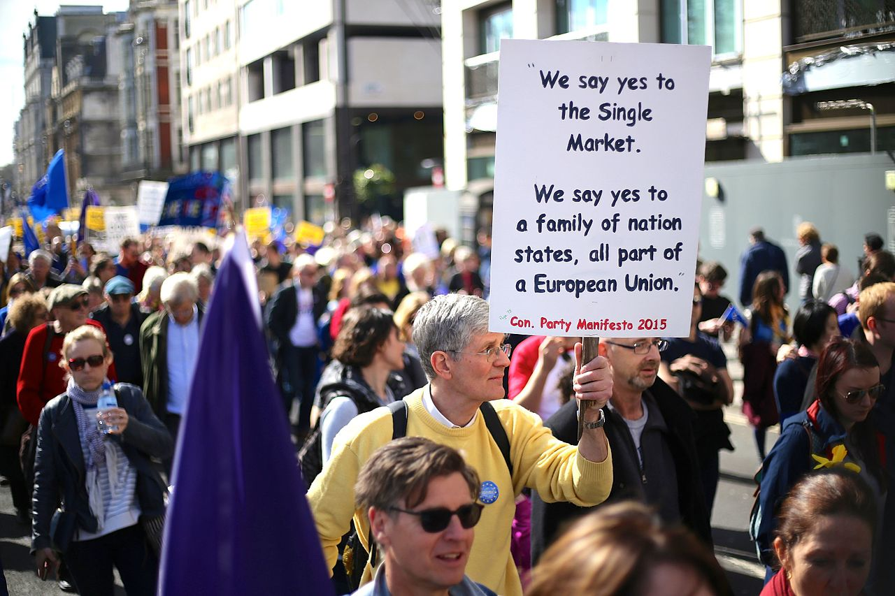 The pro-EU march from Hyde Park to Westminster in London on March 25, 2017, photo Ilovetheue