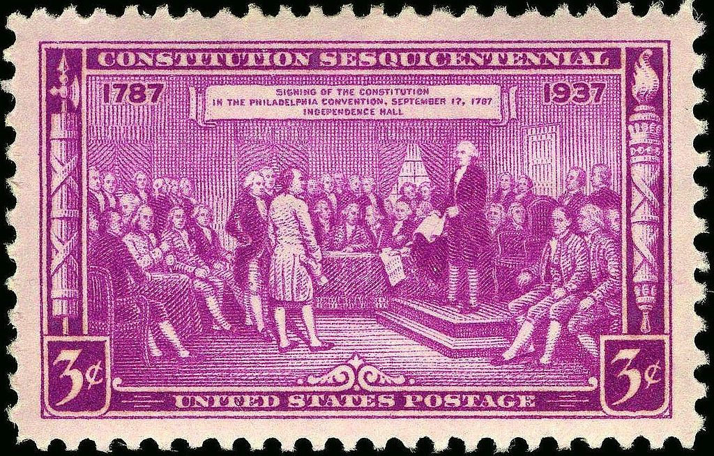 US Postage Stamp depicting delegates at the signing of the US Constitution, photo Bureau of Engraving and Printing