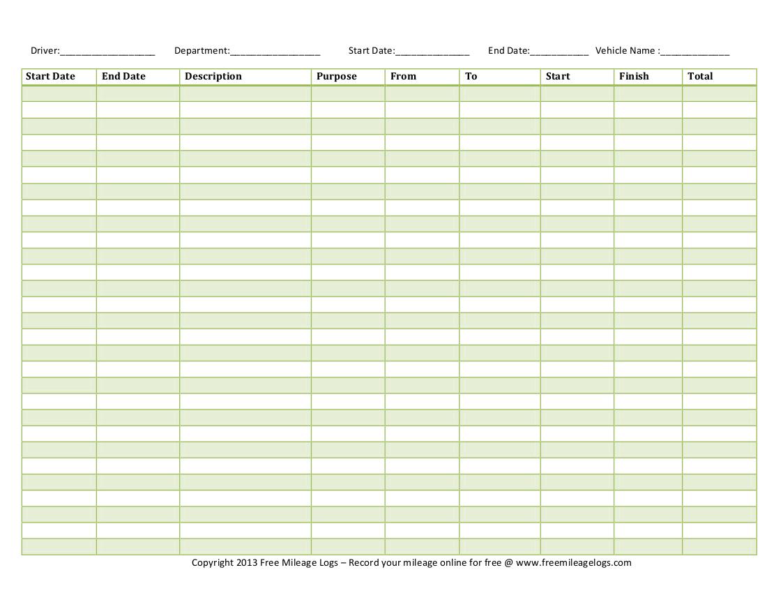 Free Printable Mileage Logs