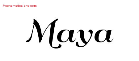 Art Deco Name Tattoo Designs Maya Printable Free Name