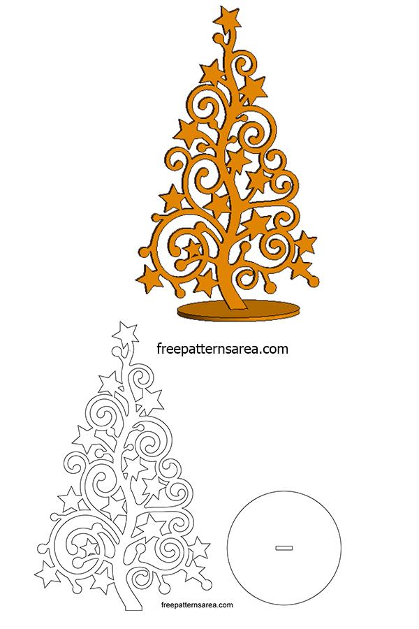 Stylized Christmas Xmas Tree Silhouette Vector Art Free