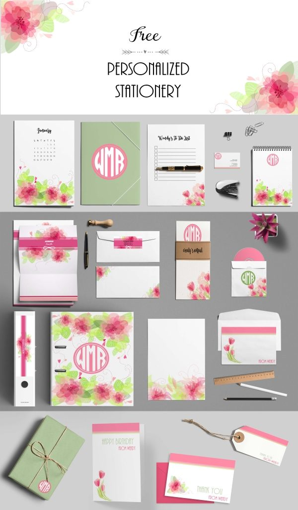 Free Custom Pink Stationery Set Customize Online And Print At Home