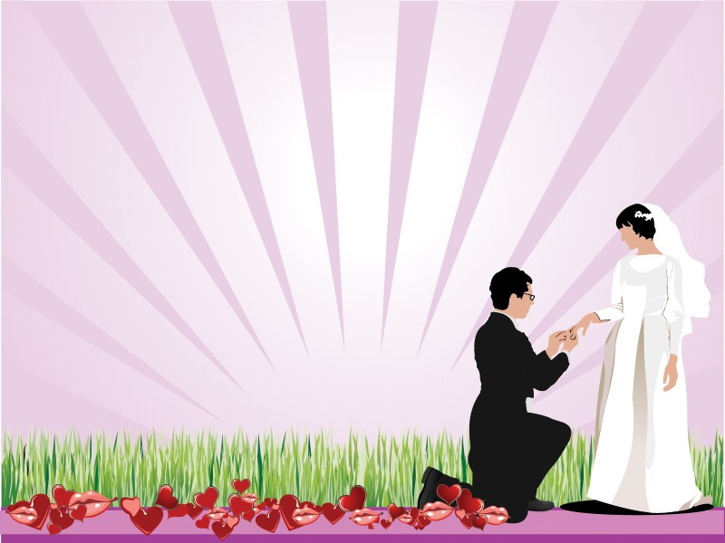 Love Wedding Proposing Ppt Backgrounds