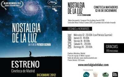 12 de diciembre, estreno en Madrid de 'Nostalgia de la luz'