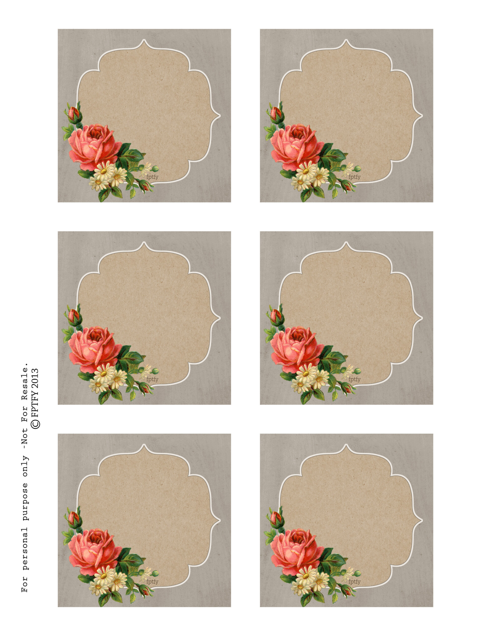 Free Autumn Rose Printable Tags And Labels
