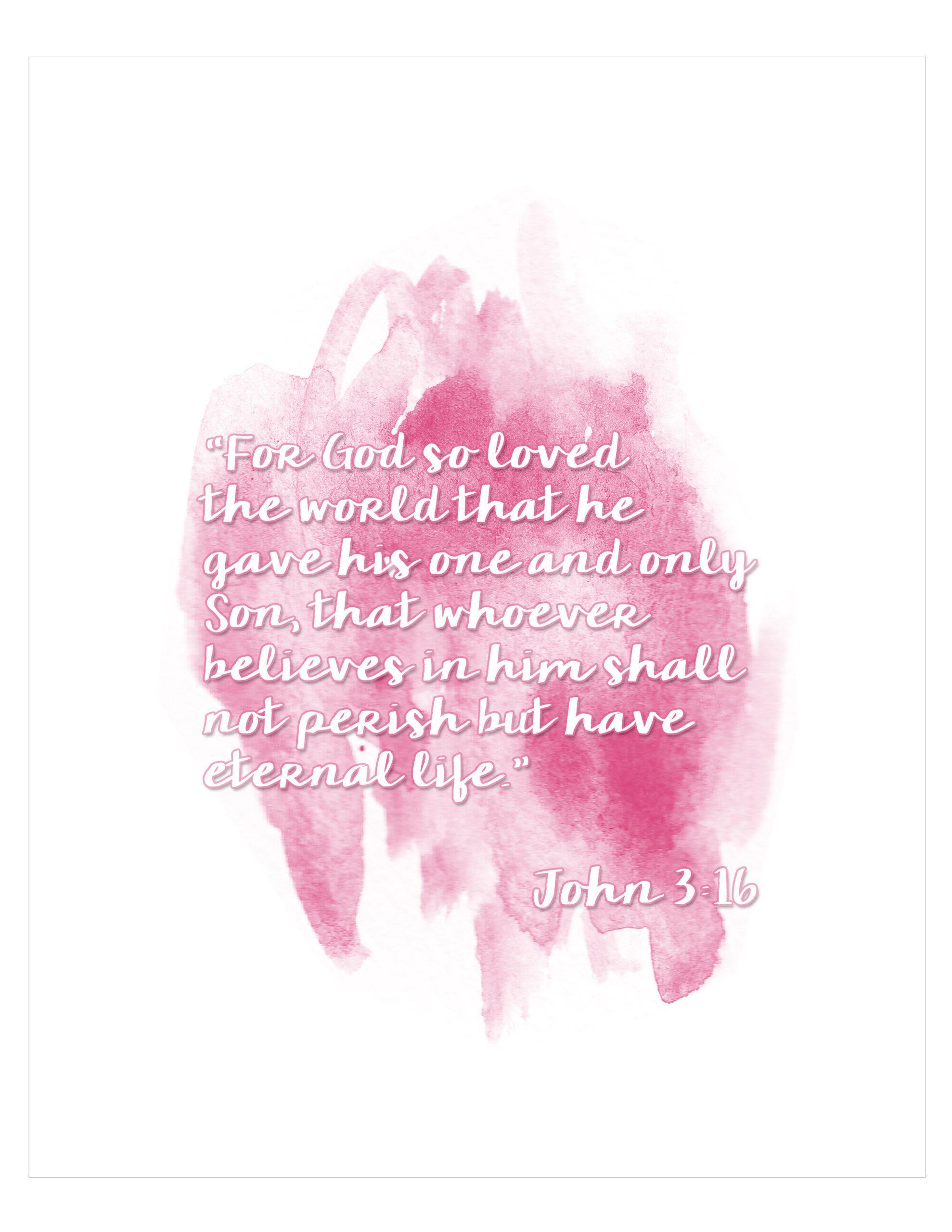 Free John 3 16 Watercolor Printables
