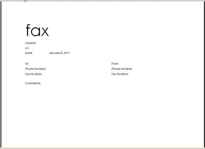 Fax Cover Sheet Microsoft Word