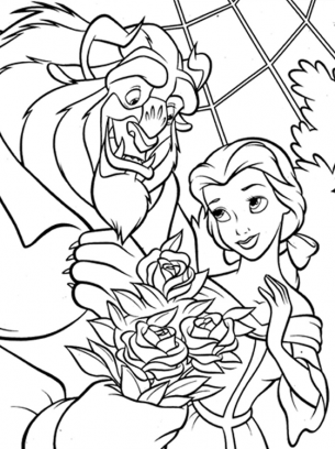 Beauty And Beast Coloring Pages