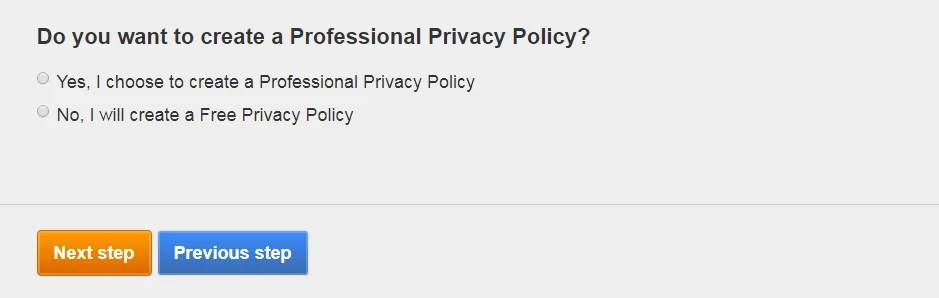 FreePrivacyPolicy: Privacy Policy Generator - Select what Privacy Policy you want to create - Step 6