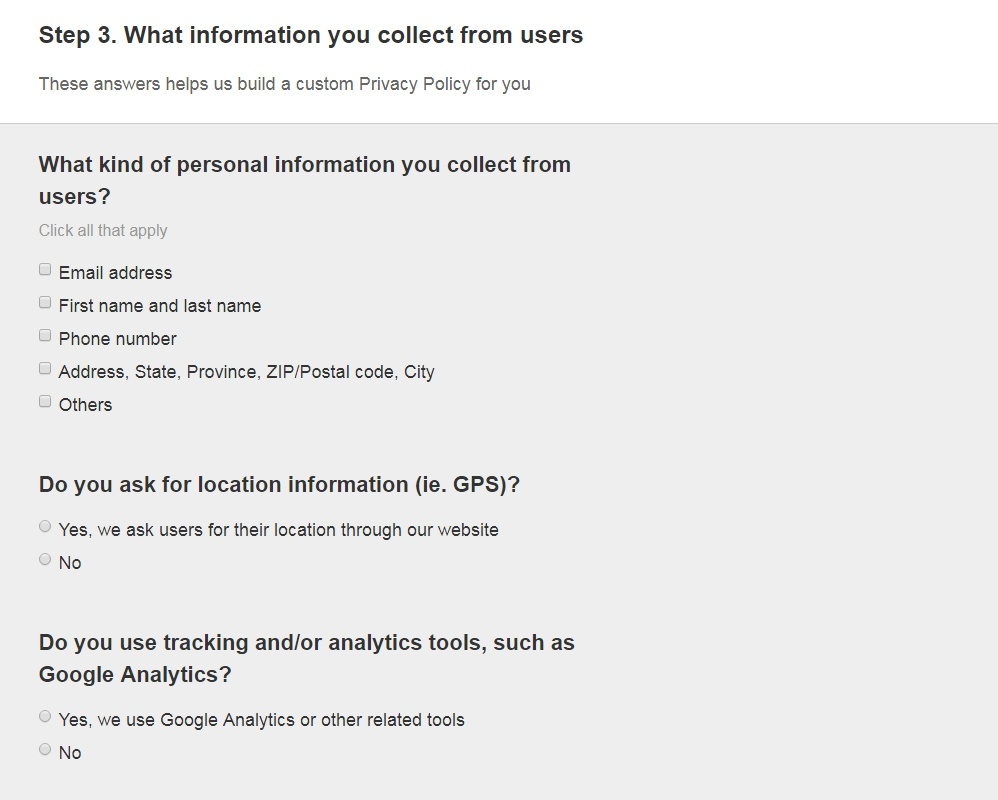 FreePrivacyPolicy: Privacy Policy Generator -  What information you collect - Step 4